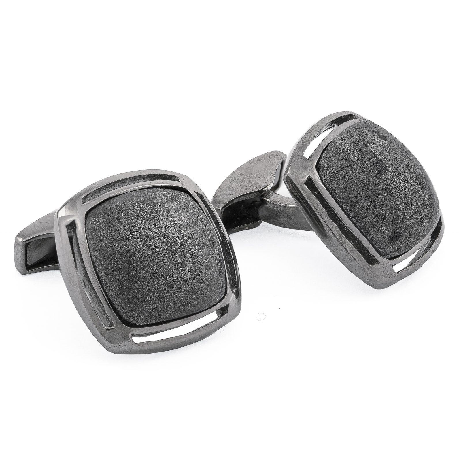 Davide Cotugno Executive Tailors Men's Custom Clothing - Tateossian Silver Specular Hematite Cufflinks