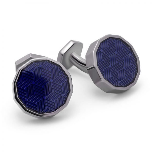 Davide Cotugno Executive Tailors Men's Custom Clothing - Tateossonian Dodecagon Ice Blue Enamel Cufflinks