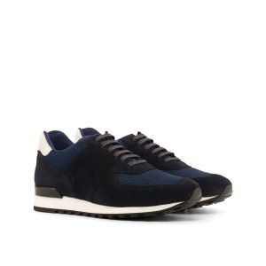 Jogger Sneaker - Lux Suede NAvy-Kid Suede White-Mesh Fabric Navy