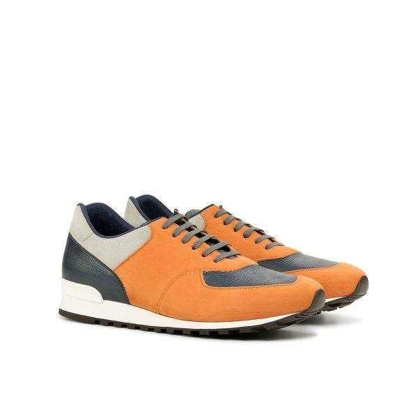 Jogger Sneaker - Mesh Fabric Grey-Kid Suede Light Grey-Painted Pebblegrain Navy-Kid Suede Orange